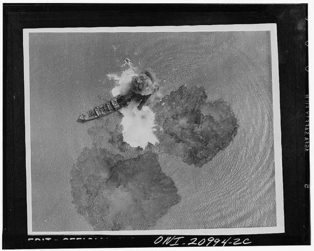 A direct hit on a 7,000 ton Japanese merchant vessel by India Air task forces near Rangoon, India