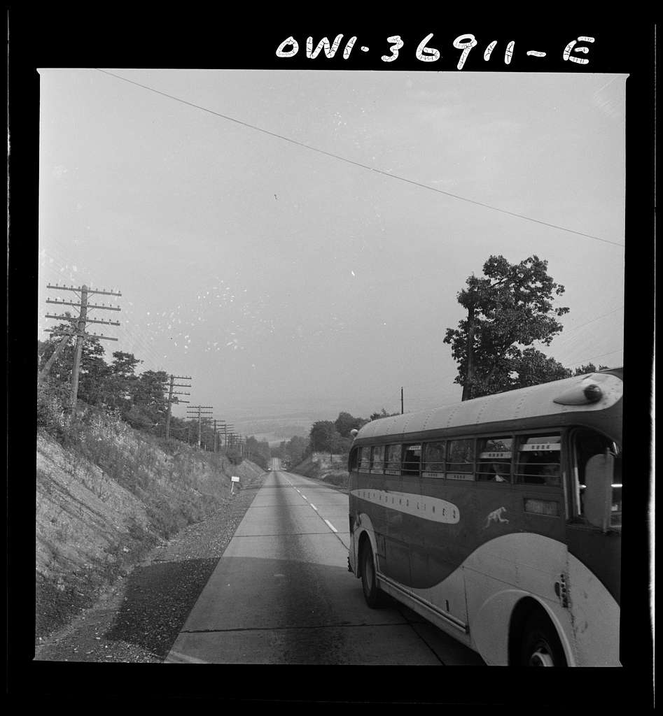 A Greyhound bus going from Washington, D.C. to Pittsburgh, Pennsylvania on a highway in Pennsylvania