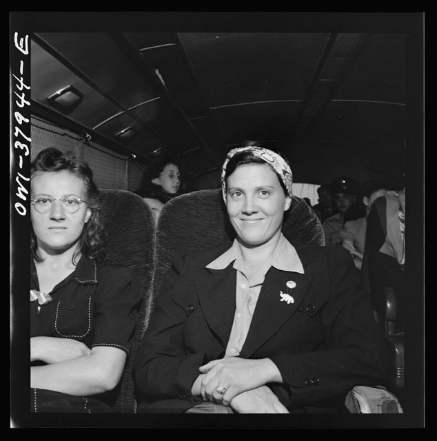 A Greyhound bus trip from Louisville, Kentucky, to Memphis, Tennessee, and the terminals. Sisters, returning from Detroit to their home in Tennessee. They left to get defense jobs but were sent back by employment agency. They don't know why, saying there were jobs but they were not allowed to take them. On Louisville-Nashville bus