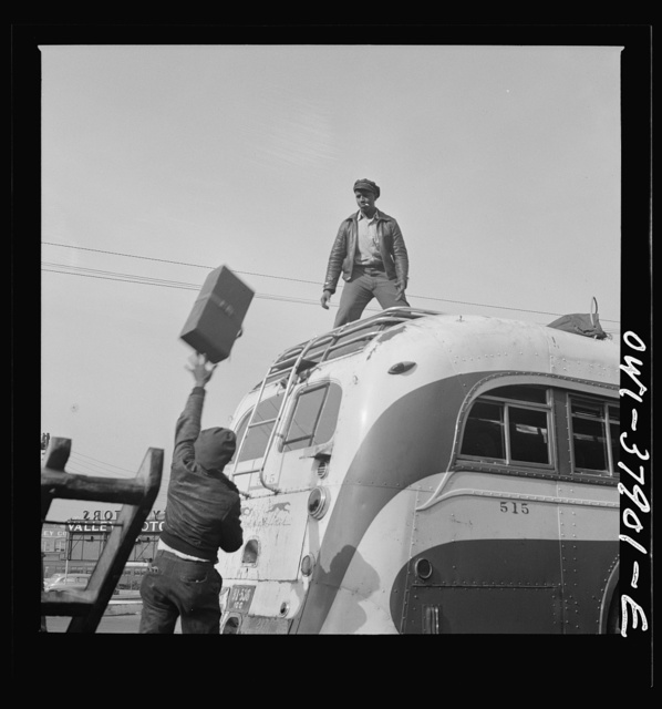 A Greyhound bus trip from Louisville, Kentucky, to Memphis, Tennessee, and the terminals. Loading a bus that carries baggage on the top. Chattanooga