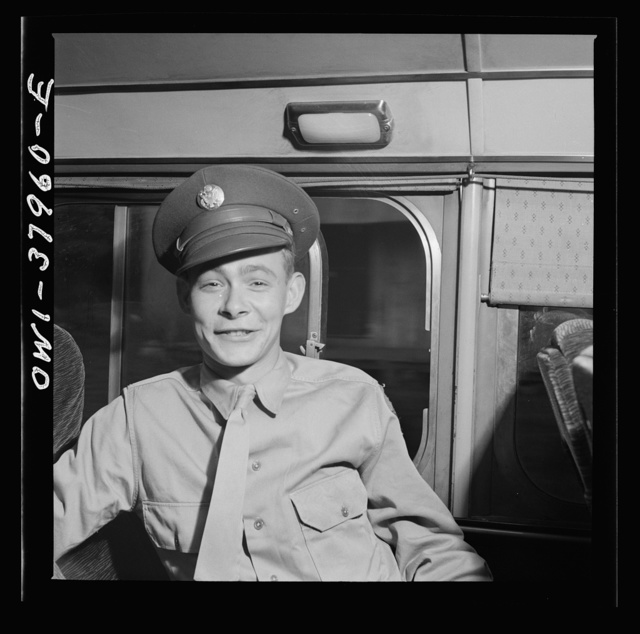 A Greyhound bus trip from Louisville, Kentucky, to Memphis, Tennessee, and the terminals. Soldier on furlough going home. Enroute Louisville to Nashville