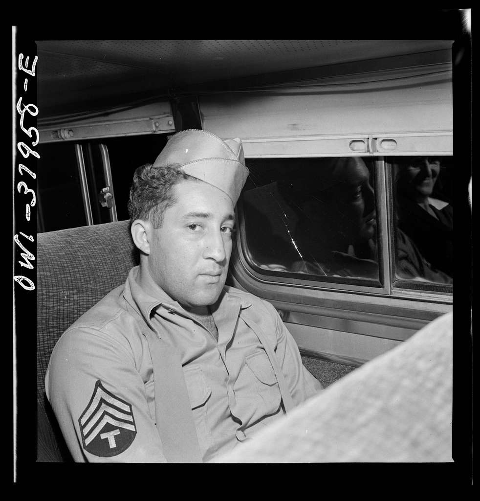 A Greyhound bus trip from Louisville, Kentucky, to Memphis, Tennessee, and the terminals. Soldier on furlough enroute from Memphis to Chattanooga