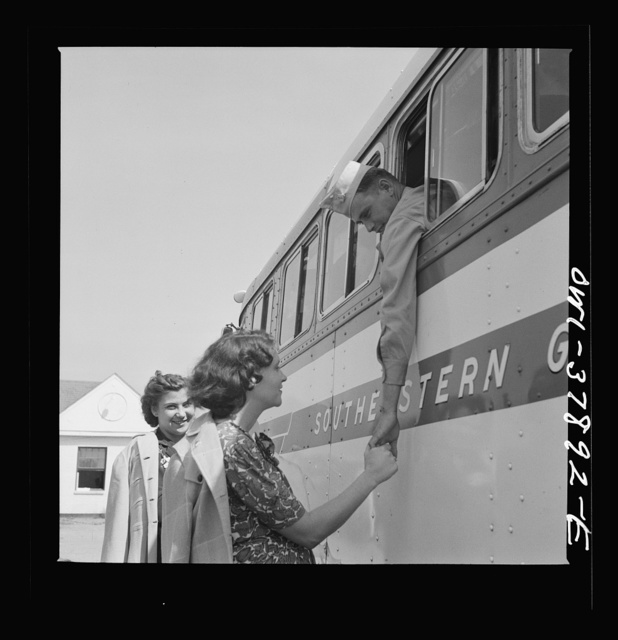 A Greyhound bus trip from Louisville, Kentucky, to Memphis, Tennessee, and the terminals. Saying goodbye at small town near Rome, Georgia