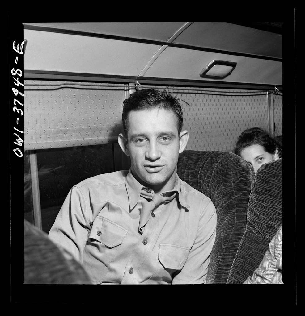 A Greyhound bus trip from Louisville, Kentucky, to Memphis, Tennessee, and the terminals. Soldier on the way to a hospital in Memphis-Louisville, Nashville bus
