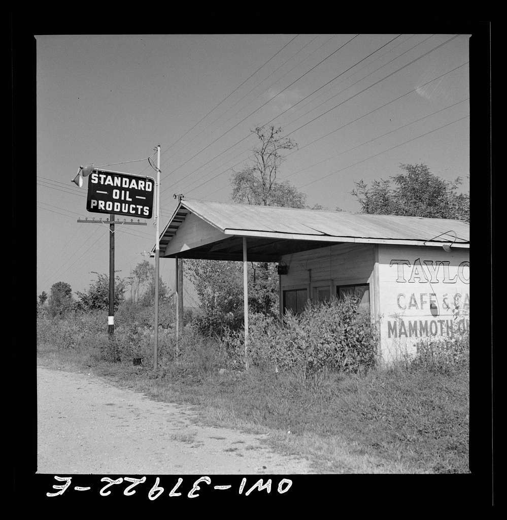A Greyhound bus trip from Louisville, Kentucky, to Memphis, Tennessee, and the terminals. One of the many abandoned gas stations seen along the road. Near Louisville