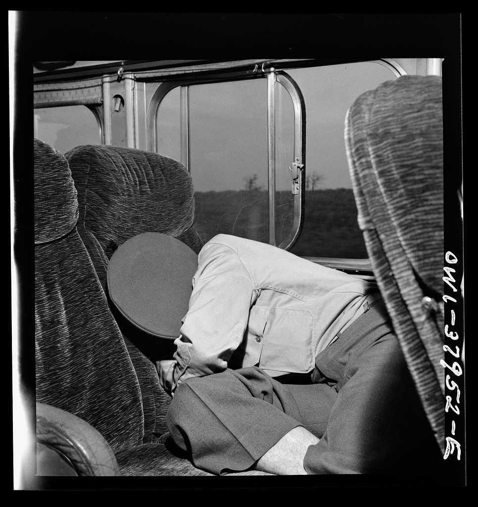 A Greyhound bus trip from Louisville, Kentucky, to Memphis, Tennessee, and the terminals. Sleeping soldier on Greyhound bus enroute from Louisville to Nashville