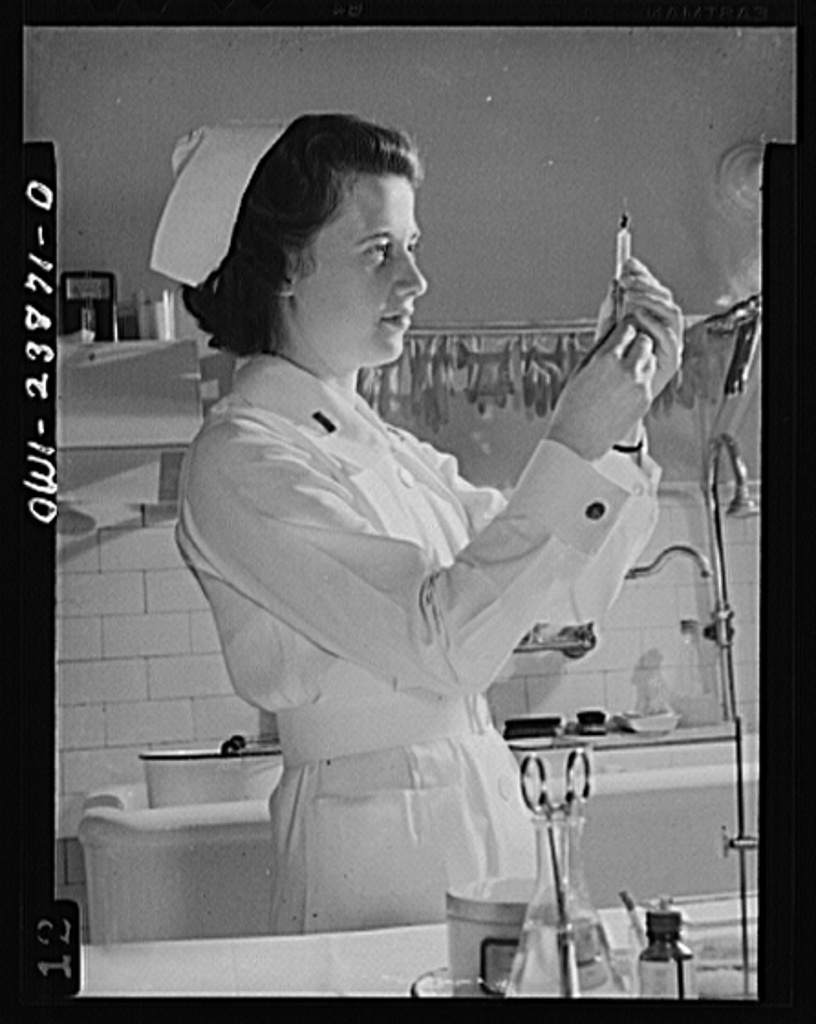 A modern Florence Nightingale, Lieutenant Frances Bullock of the Army Medical Center in Washington, D.C. is one of America's army of nurses whose devotion to country comes before regard for personal comfort and security. In ice-bound outposts and in tropical southern isles, wherever the stars and stripes are flown, the courageous women of America's resolute nursing corps are caring for our wounded and carrying on the fight against disease
