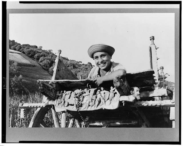 A Sicilian farmer in a cart