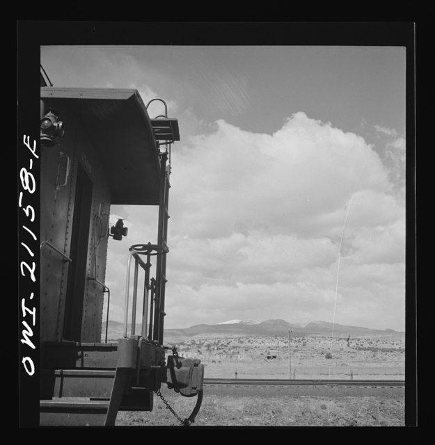 Acomita, New Mexico. Indian farms along the Atchison, Topeka and Santa Fe Railroad between Belen and Gallup, New Mexico. Mount Taylor is in the background