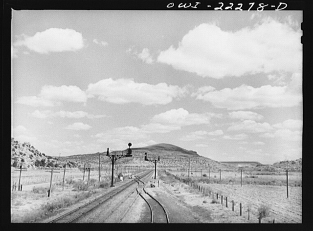 Acomita, New Mexico. Landscape along the tracks of the Atchison, Topeka, and Santa Fe Railroad enroute to Gallup
