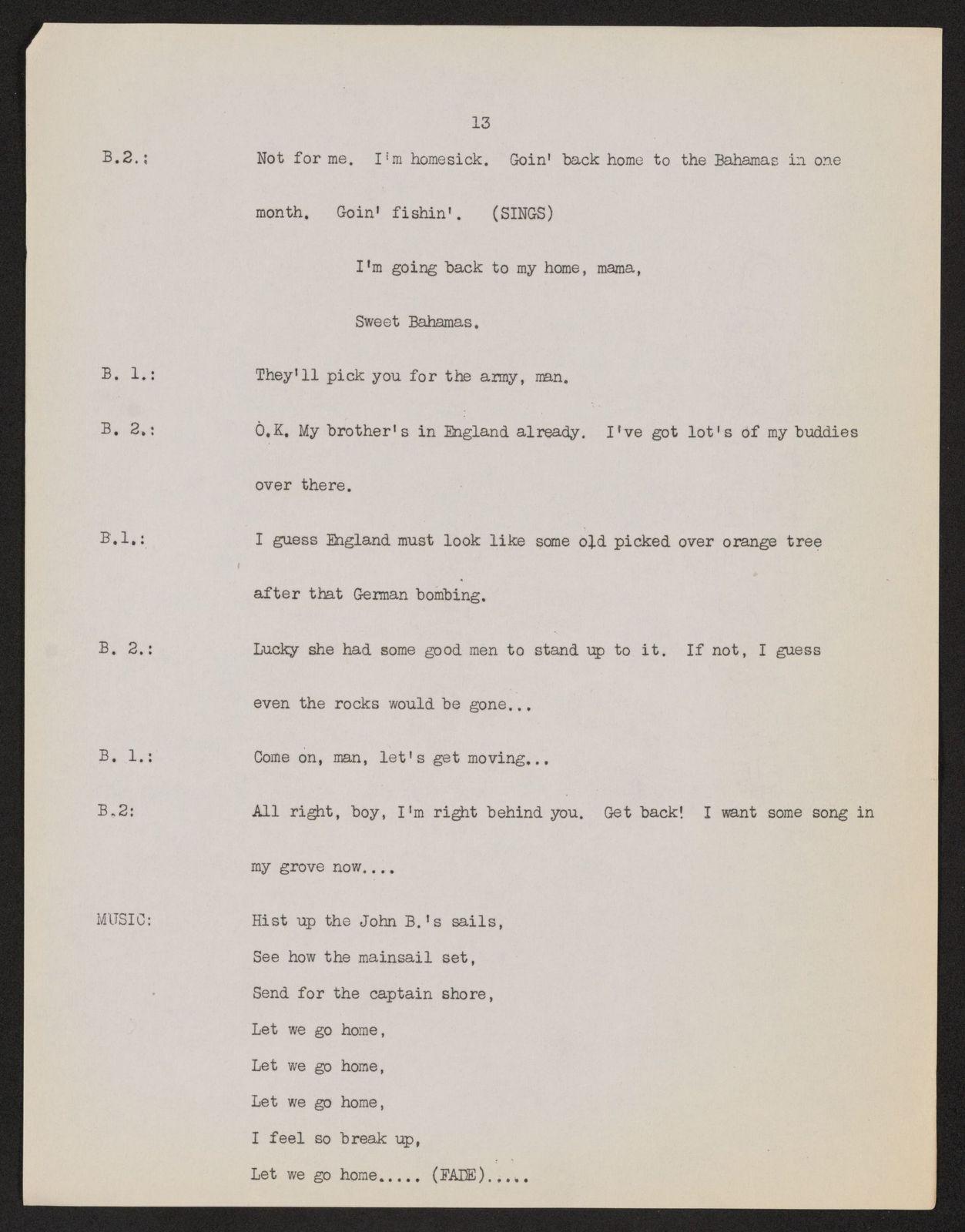 Alan Lomax Collection, Manuscripts, CBS-BBC, 1943, Transatlantic Call--People To People