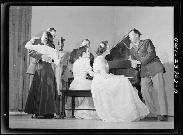 All nursing and no play might make Frances Bullock (right) a dull girl! To preclude such a possibility, Army nurses hold dances in the nurses' home