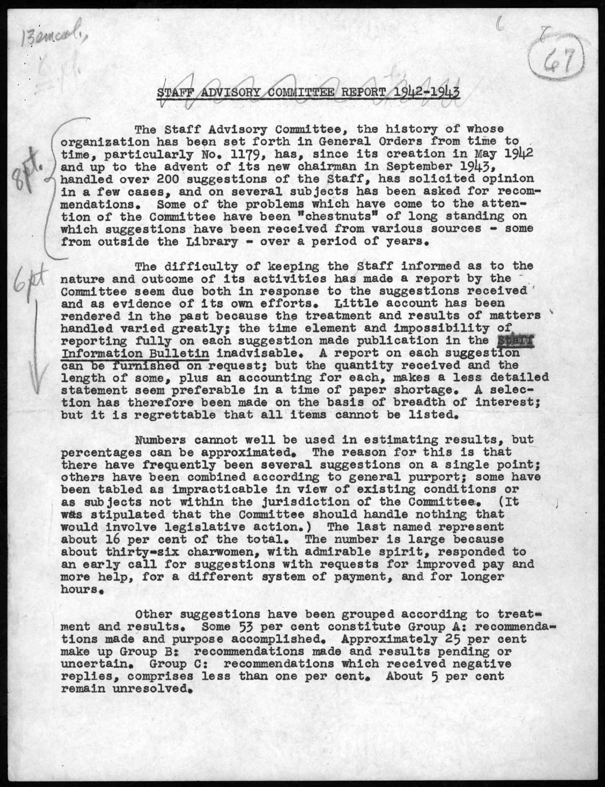 """""""Annual Report of the Staff Advisory Committee,"""" by Grace Hadley Fuller, November 22, 1943"""