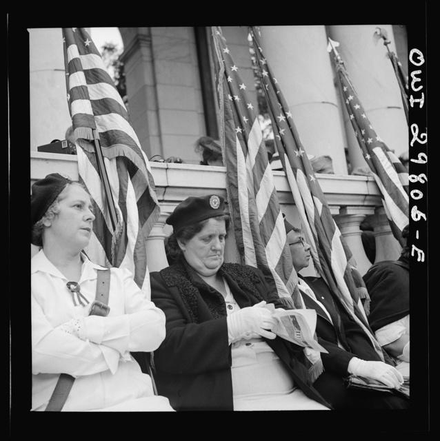 Arlington Cemetery, Arlington, Virginia. American legion color bearer at the Memorial Day services in the amphitheater