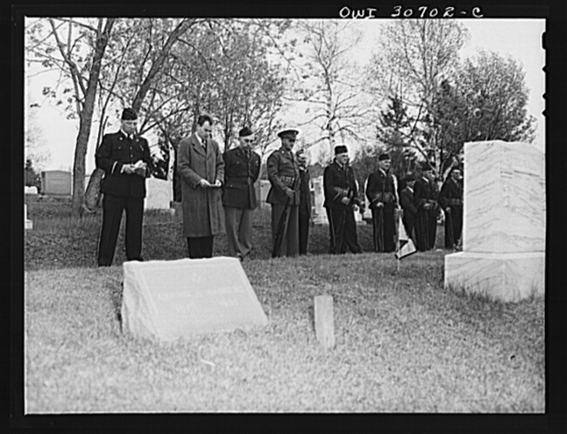 Ashland, Aroostook County, Maine. The Congregational minister offering prayer for the war dead at the Memorial Day ceremonies