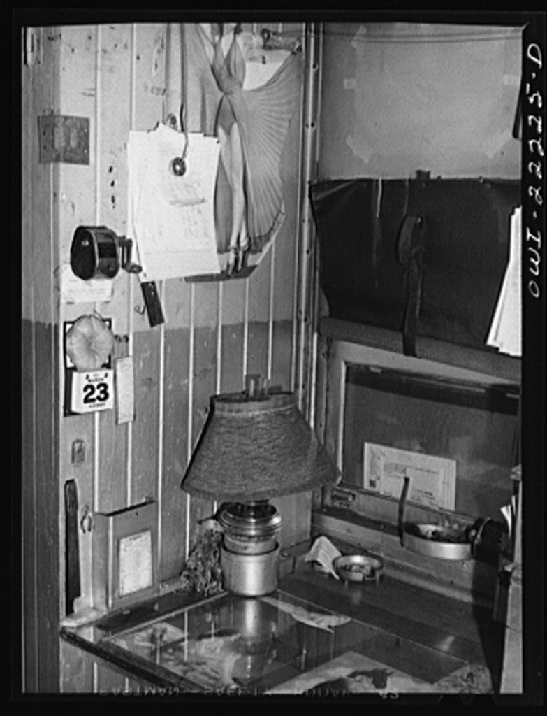 Atchison, Topeka, and Santa Fe Railroad conductor's work table in the caboose enroute to Gallup, New Mexico
