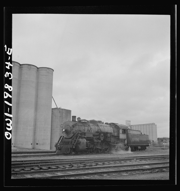 Atchison, Topeka, and Santa Fe Railroad train arriving at Wellington; the engine is uncoupled and sent off to the roundhouse
