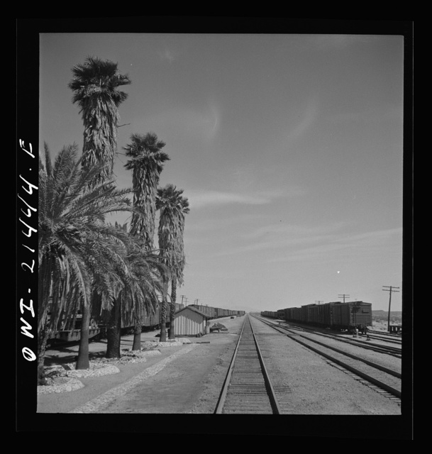Bagdad, California. Going through the station on the Atchison, Topeka and Santa Fe Railroad between Needles and Barstow, California