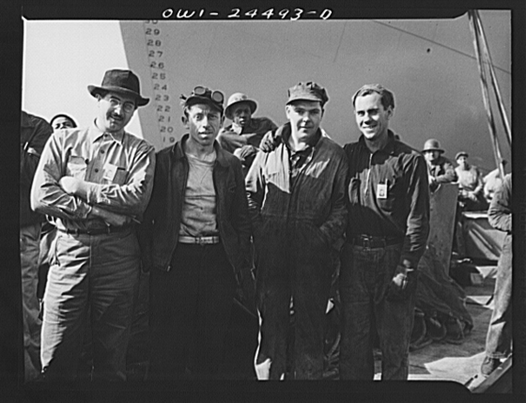 Baltimore, Maryland. A group of workers at the Bethlehem-Fairfield shipyards