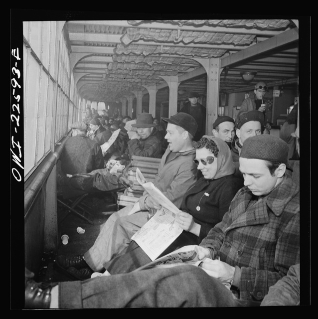 Baltimore, Maryland. Eighteen hundred workers are carried from the Bethlehem Fairfield shipyard to Baltimore on a former Wilson Line pleasure boat. The trip takes twenty minutes
