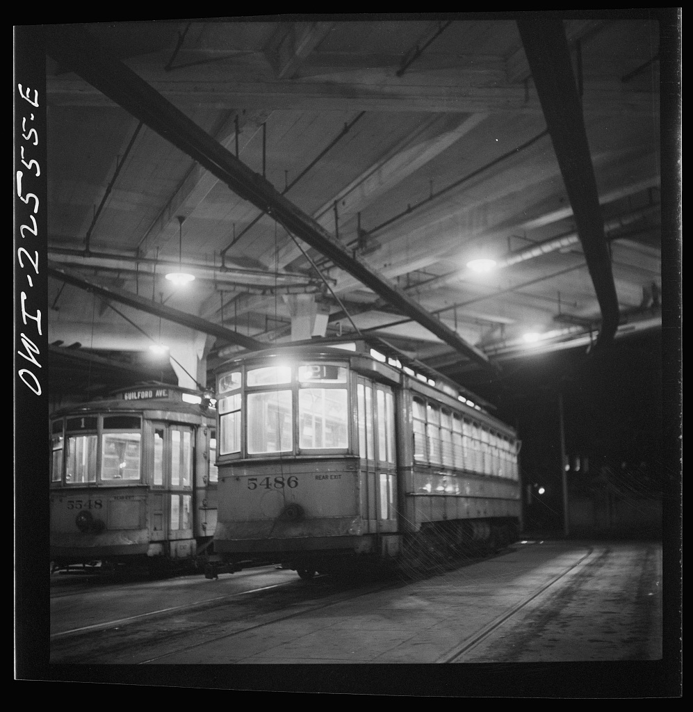 Baltimore, Maryland. Trolleys inside the Park terminal