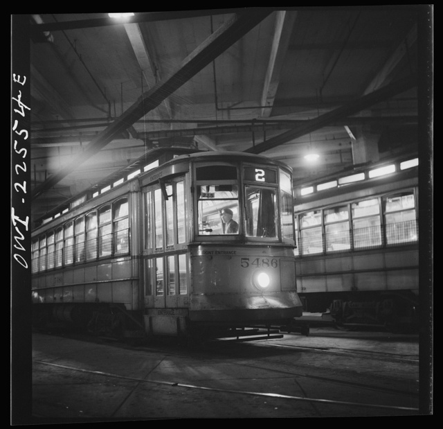 Baltimore, Maryland. Trolleys inside the Park terminal at night