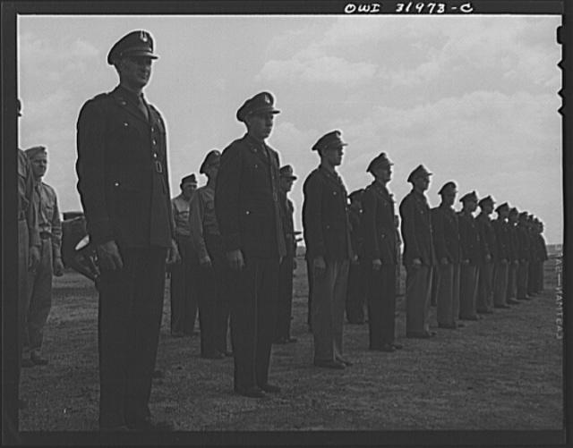 Bar Harbor, Maine. Civil Air Patrol base headquarters of coastal patrol no. 20. Personnel of the 20th submarine patrol at inspection