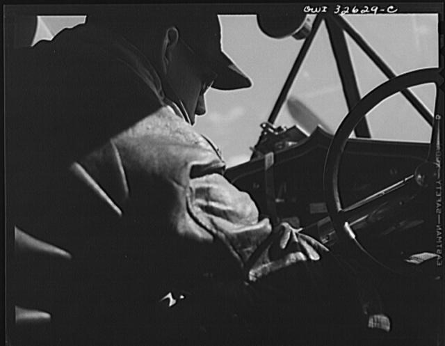 Bar Harbor, Maine. Civil Air Patrol base headquarters of coastal patrol no. 20. A pilot ready for a takeoff