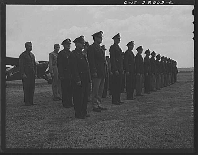 Bar Harbor, Maine. Civil Air Patrol base headquarters of coastal patrol no. 20. Pilots, observers and ground crew of the 20th patrol squadron on inspection