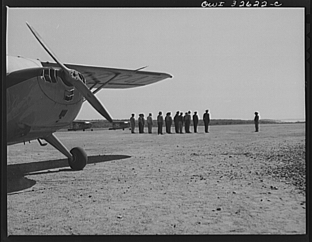 Bar Harbor, Maine. Civil Air Patrol base headquarters of coastal patrol no. 20. Pilots and observers in marching maneuvers during their daily calisthenics period