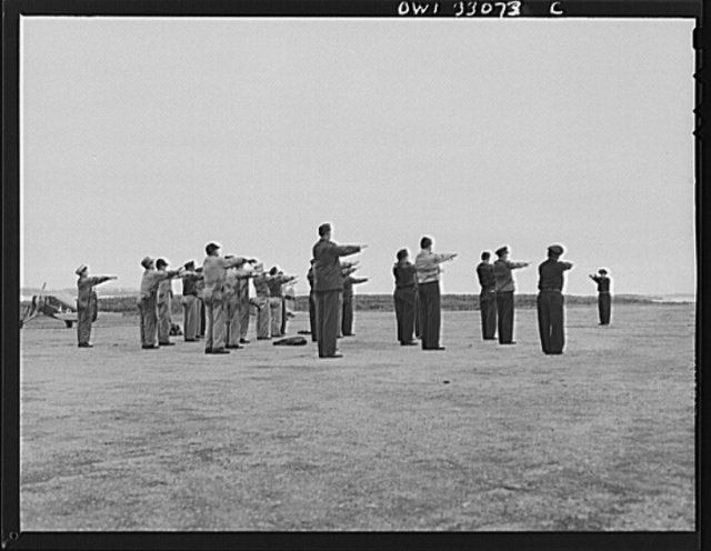 Bar Harbor, Maine. Civil Air Patrol base headquarters of coastal patrol no. 20. Daily calisthenics for the personnel