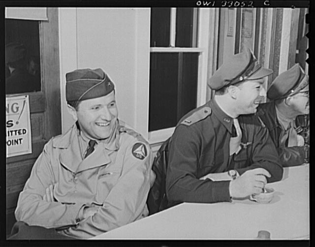Bar Harbor, Maine. Civil Air Patrol base headquarters of coastal patrol no. 20. Flyers waiting for the dawn patrol in the base canteen
