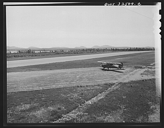 Bar Harbor, Maine. Civil Air Patrol base headquarters of coastal patrol no. 20. The runways from the control tower