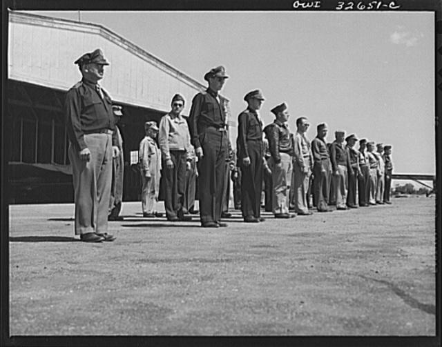 Bar Harbor, Maine. Civil Air Patrol base headquarters of coastal patrol no. 20. Daily personnel inspection