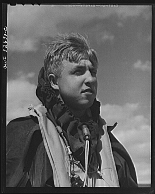 Bar Harbor, Maine. Civil Air Patrol base headquarters of coastal patrol no. 20. Alfred Speckman, a flyer, in his rubber crash suit