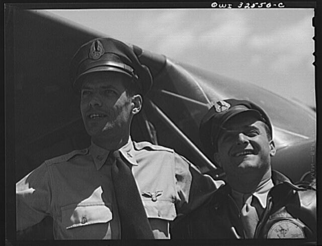 Bar Harbor, Maine. Civil Air Patrol base headquarters of coastal patrol no. 20. A pilot and an observer