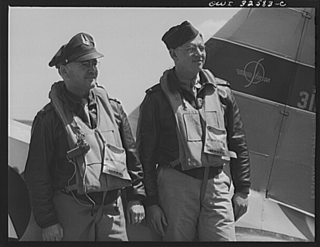 Bar Harbor, Maine. Civil Air Patrol base headquarters of coastal patrol no. 20. Pilot and observer who bought their own plane and flew it in from Wisconsin to join the patrol