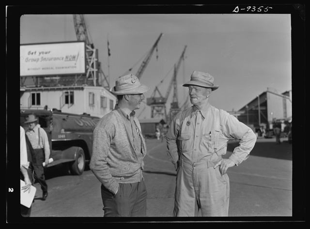 Baseball players in war production. Lunch hour at California Ship Building Corporation finds two of baseball's major leaguers talking things over. As fellow ship-builders at the California shipyards, George Stovall, retired manager of the Cleveland Indians, and Vince DiMaggio, Pittsburgh Pirates outfielder, agree that they're both members of the greatest American team in existence--the team that's all out to beat the Axis