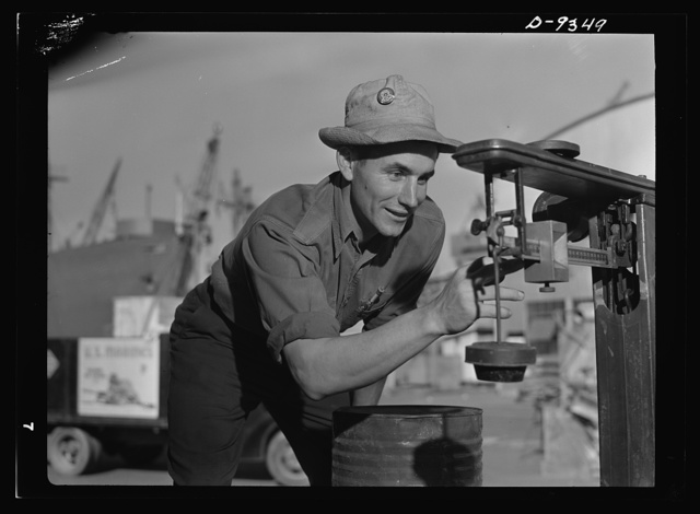 Baseball players in war production. Outfielder Vince DiMaggio, of the Pittsburgh Pirates, has been working at the California Ship Building Corporation since last October. He's one of the many former athletic stars who are helping to smash the Axis by building the equipment needed by America's fighting men