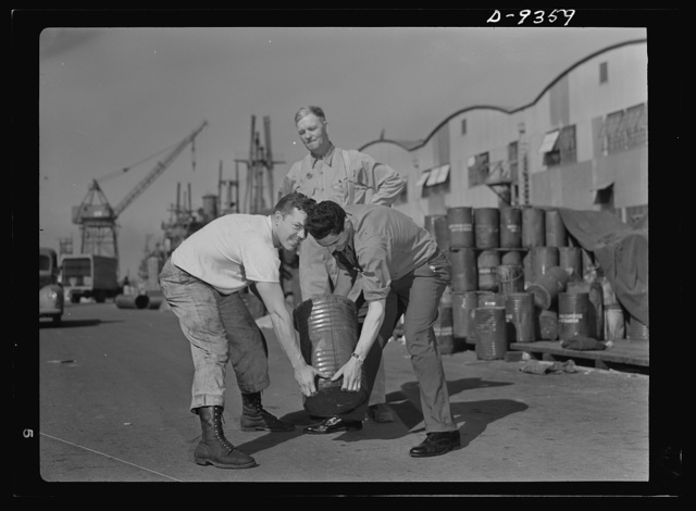 Baseball players in war production. Three major leaguers put the diamond behind them and get to work for Uncle Sam in the California Shipbuilding Corporation. Vernie Stephens (left), former shortstop with Saint Louis Browns, George Stovall, retired manager of the Cleveland Indians, and Vince DiMaggio, of the Pittburgh Pirates, are currently employed as warehousemen at the California shipyards