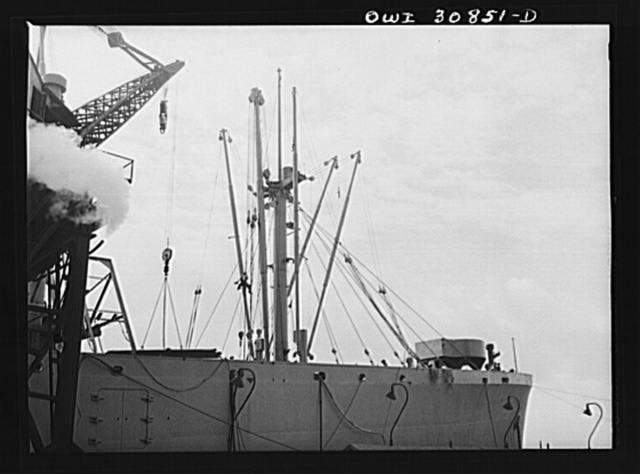 Beaumont, Texas. Booms on cargo vessels under construction at the Pennsylvania shipyards