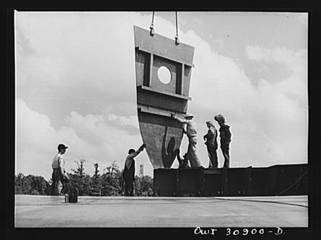 Beaumont, Texas. Hull of a cargo vessel under construction at the Pennsylvania shipyards