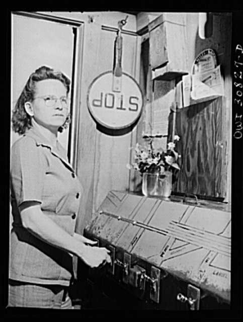 Beaumont, Texas. Lady who operates block signals for railroad crossing