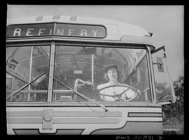 Beaumont, Texas. Mrs. Ruth Gallagher, a bus driver for the city transit company. Her husband works in the Pennsylvania shipyards