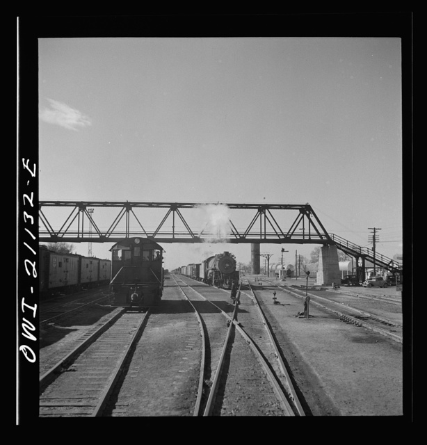 Belen, New Mexico. In the Atchison, Topeka and Santa Fe Railroad freight yard