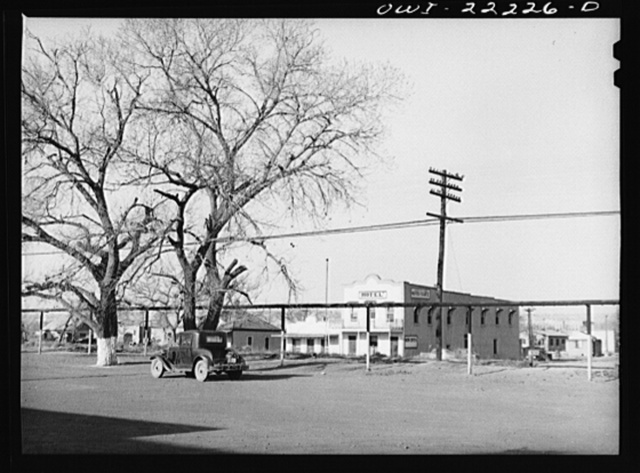 Belen, New Mexico. Street scene near the Atchison, Topeka, and Santa Fe Railroad depot