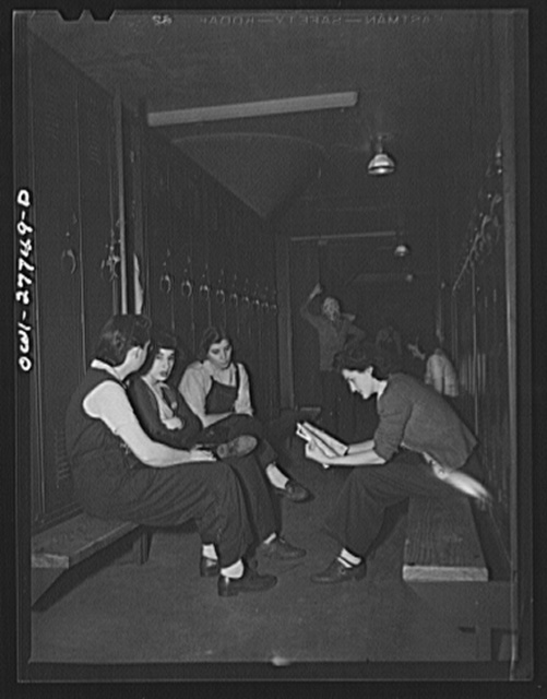 Bell Aircraft Corporation, Niagara Falls, New York. Women employees in the locker room waiting for their shift to begin