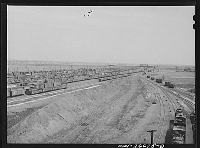 Bensenville, Illinois. General view of part of the Bensenville yard of the Chicago, Milwaukee, Saint Paul and Pacific Railroad