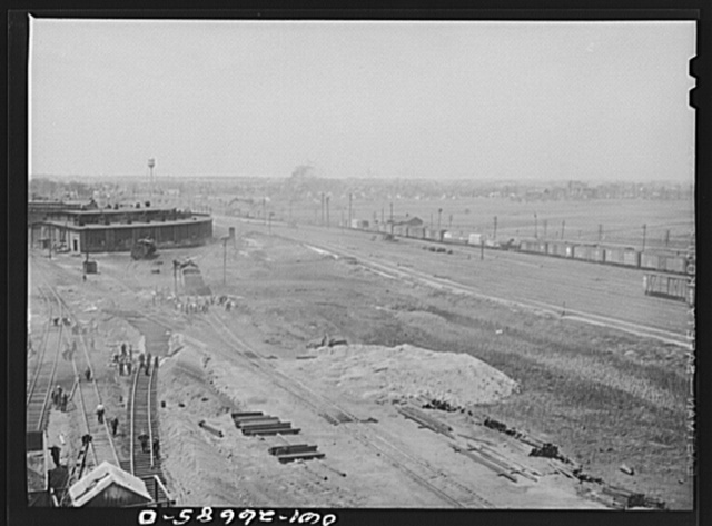 Bensenville, Illinois. Repair work going on at Bensonville yard of the Chicago, Milwaukee, Saint Paul and Pacific Railroad