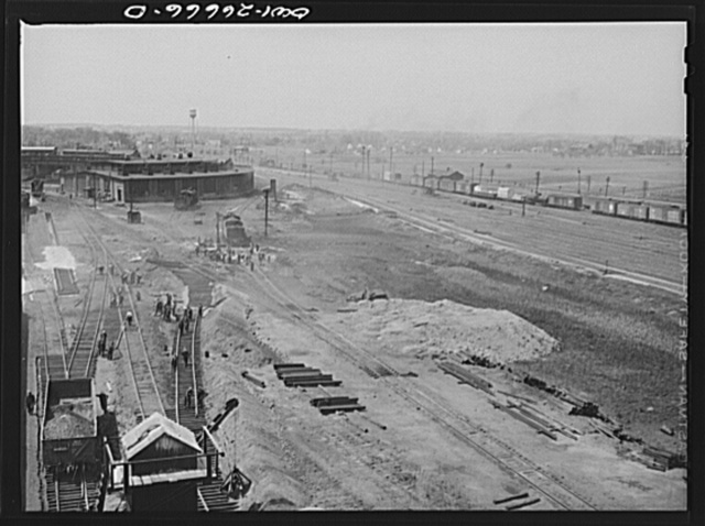 Bensenville, Illinois. Track repair work at the Bensenville yard of the Chicago, Milwaukee, Saint Paul and Pacific Railroad